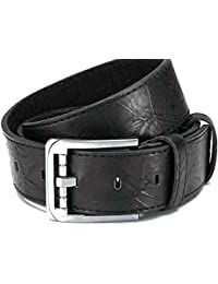Ledergürtel mit PU-Beschichtung, schwarz mit Designer Schließe, schöne Prägung