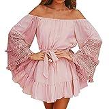 HCFKJ 2018 Mode Damen Frauen O-Ansatz beiläufige Taschen-Sleeveless über Knie-Kleid-lose Partei-Kleid (S, Rosa)