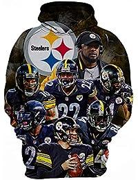 GSJFQX Unisex Fashion 3D Sudaderas Estampadas Pittsburgh Steelers Equipo Sudadera con Capucha de Jersey gráfico Sudaderas