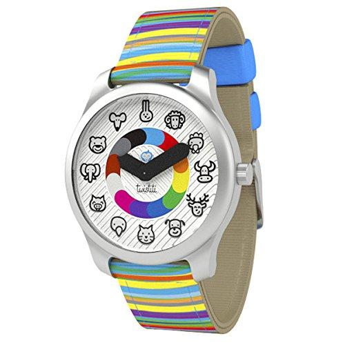 Twistiti - Hochwertige pädagogische Uhr für Kinder mit Tier Ziffernblatt und Original-Armband - ab 3 Jahre - Runde Drei-tier-glas
