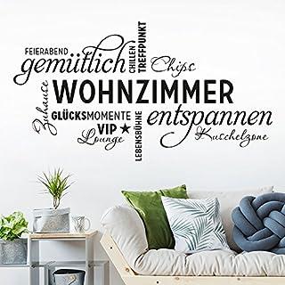 KLEBEHELD® Wandtattoo Wohnzimmer Wortwolke | VIP Lounge, Zuhause,  Kuschelzone, Sprüche,