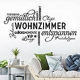 KLEBEHELD® Wandtattoo Wohnzimmer Wortwolke | VIP-Lounge, Zuhause, Kuschelzone, Sprüche, Wandaufkleber Farbe schwarz, Größe 120x65cm