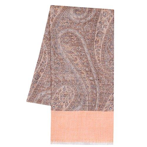 KASHFAB Kashmir Aux femmes Hiver Mode Jacquard Écharpe, La laine Soie Stole, Doux Longue Châle, Chaud Pashmina Orange sombre