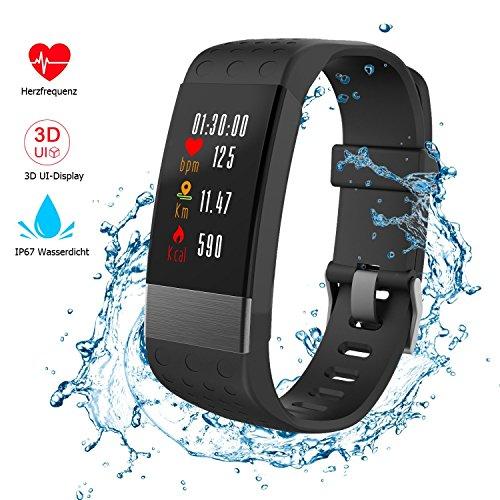 【2018 neue Version】Fitness Tracker mit herzfrequenz , Nicksea Fitness Armband IP67 Wasserdicht 3D UI Farbdisplay Schrittzähler , Schlafüberwachung, Kalorienzähler, Entfernungsmesser, Aktivitätstracker für Android oder iOS Smartphones