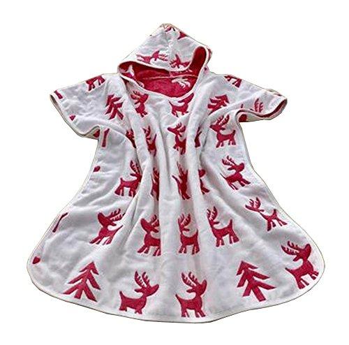 Serviette Cotton Baby Bath Hooded Towel enfants Cape de bain Peignoir Cerf rouge