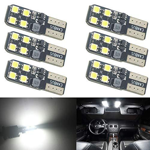 AMAZENAR Pack D'ampoules LED 6-194 6000K 12V-24V Blanches Extrêmement Lumineuses 168 2825 W5W T10 Wedge LED Ampoules de Rechange Canbus sans Erreur pour la Carte de Dôme de Voiture