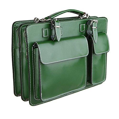 Chicca Borse Unisex Aktentasche Organizer Handtasche Mittlere Maß mit Schultergurt aus echtem Leder Made in Italy 34x24x12 Cm Grün
