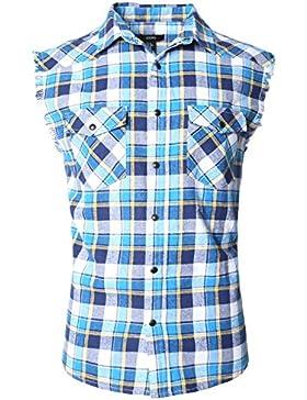 SOOPO Herren Ärmellose Kariert Flanell Hemden Freizeithemd aus Baumwolle Sleeveless T-Shirt