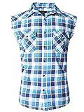 SOOPO Herren Ärmellose Kariert Flanell Hemden Freizeithemd aus Baumwolle Sleeveless T-Shirt(blau&weiß≥lb,M)