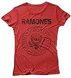 LaMAGLIERIA Damen-T-Shirt Ramones Grunge Black Print - Maglietta 100% Baumwolle, M, Rot