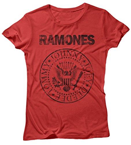 LaMAGLIERIA Camiseta Mujer Ramones Grunge Black Print - Camiseta...