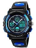 Jungen Jugendliche Kinder Digital Sport Uhren Multifunktion 50M Wasserdicht Elektronisch Stunden Digital Armbanduhr mit Stoppuhr LED Licht Alarm für Kinderuhr (Blau)
