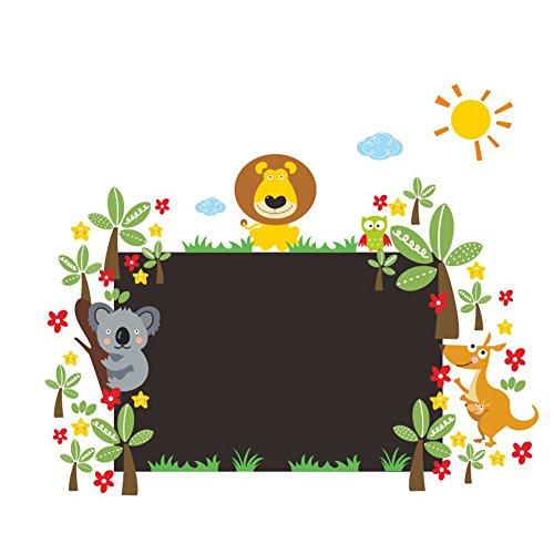 Preisvergleich Produktbild MING Tafel mit Tieren umgeben um Wand Aufkleber Aufkleber für Baby Kinderzimmer Kinder Schlafzimmer Kindergarten Kindergarten Klassenzimmer Dekoration (Größe: S/L), L