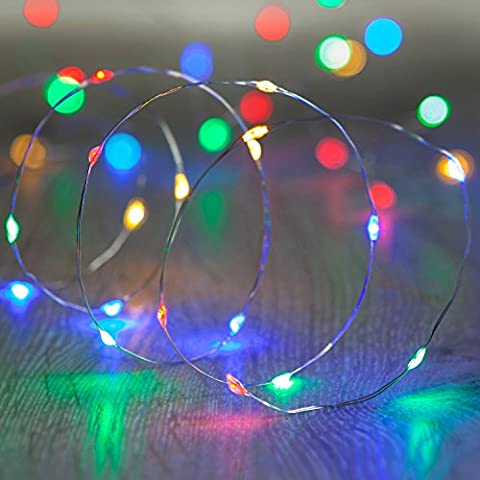Battery Operated Fairy Lights with 20 Micro Multi Coloured LEDs on Silver Wire by Lights4fun