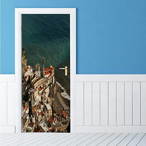 qazwsx PVC Wand Kühlschrank Tür Abdeckung Aufkleber 3D DIY wasserdichte Selbstklebende Meer Stadt Wand Tür Simulation Tapete Aufkleber 95X215 cm
