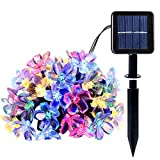 MKT Solar Bunte LED String 8 Modi 100 Blüten Blume Lichter wasserdicht für Garten Patio Hochzeit Geburtstag Party Schlafzimmer Weihnachten