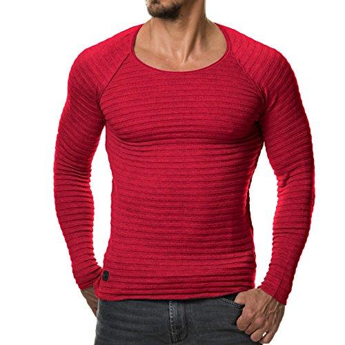 eightyfive-herren-pullover-feinstrick-streifen-weiss-grau-schwarz-ef1699-grossel-farberot