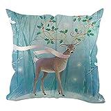 Lilicat Weihnachten Kissenbezüge 45x45 cm Bequem Drucken Kissenbezug Dekorative für Sofa Auto Terrasse Zierkissenbezüge Baumwolle Leinen Weihnachten Kissenbezug