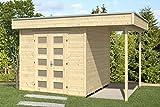 SKAN HOLZ Flachdachhaus, Venlo 2, 28 mm, unbehandelt Gartenhäuser, natur, 250 x 380 x 255 cm