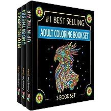 Forma creativa Calm estudios de 3libros para colorear para adulto con 120, Animal Mandala y Scenic diseños