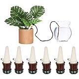 DOCA Dispositivos de riego de plantas, 6 unidades de pinchos de riego automático de cerámica para sistema de riego por goteo y jardinería para plantas domésticas Bonsai Flores