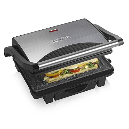 5133rK Cn3L. SS500  - Tower Mini Panini Press Grill with Easy Clean Non-Stick Coated Plates, Automatic Temperature Control, Stainless Steel, 700 W, Silver/Black