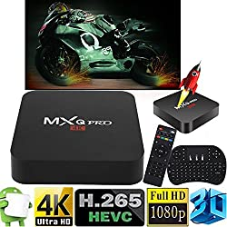 Cewaal (UE Pulg) Smart TV Box, Android 6.0 Amlogic RK3229 1 GB + 8 GB Quad Core Réseau WiFi 1080 P HD 4K Smart TV Box Media Player + I8 Clavier pour MXQ Pro