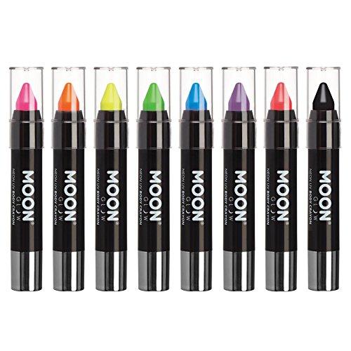 Moon Glow - Barra de pintura facial/Maquillaje de cera corporal lápiz de cuerpo UV neón para rostro y cuerpo – Pastel set de 8 colores - Brilla intensamente bajo la luz UV