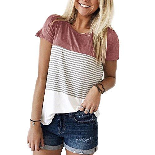 Ehpow Damen Sommer T-Shirt Casual Streifen Patchwork Oberteil Tops Bluse Shirt (Small, Rosa)