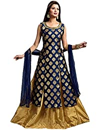 a492072b6fbce Radhe Fashion Jacquard Gown for women A-Line Style Navy Blue with Gold  color Lehenga