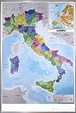 Close Up Mappa Italia Fisico Politico Karte von Italien (93x62 cm) gerahmt in: Rahmen Silber