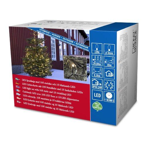 Konstsmide 3612-140 Micro LED Lichterkette / für Außen (IP44) /  24V Außentrafo / 120 warm weiße Dioden / 15 funkelnde Dioden / schwarzes Kabel 15 Dioden