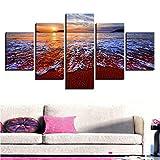 jecswolz Moderne Leinwand Bilder Home Wandkunst Dekor Modulare Rahmen 5 Stücke Sunset Beach Malerei Hd Druckt Spray Wave Seascape Poster Kein Rahmen