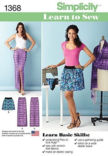Simplicity Learn To Sew Pattern 1368 Misses Pull-on Short Skirt and Knit One Piece Maxi Skirt, Sizes 6-8-10-12-14-16-18 by Simplicity Patterns