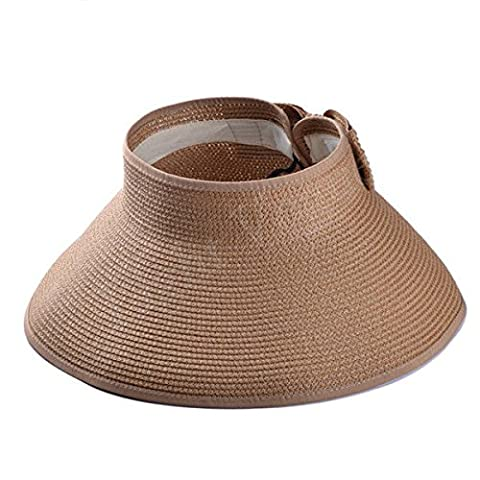 Les femmes été large bord Rouler visière paille pliable Sun Beach Hat Cap 67 ,Brown HNAA
