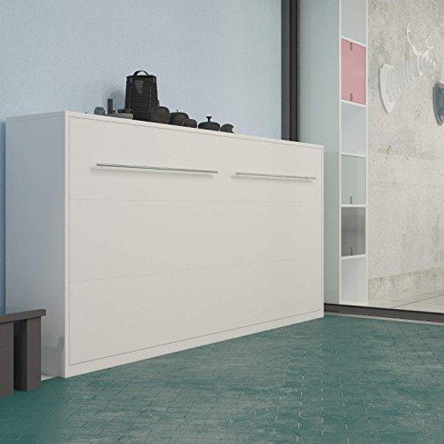 SMARTBett Schrankbett 90×200 cm Horizontal Weiß Schrankklappbett & Wandbett, ideal als Gästebett – Wandbett, Schrank mit integriertem Klappbett, Sideboard - 2