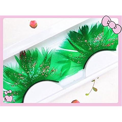 GAOMEI2 grande verde glitter glitter ciglia finte piume di Halloween