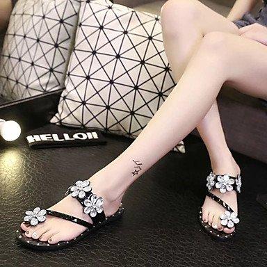 Sandalen komfort Lvyuan pu Black schwarz flacher lässig Silber Absatz 1wTdSTq6x