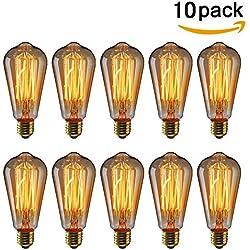 KINGSO 10x Vintage Glühbirne 40W E27 220V retro Edison Lampe Antike Stil ST64Squirrel Cage Glühlampe Ideal für Nostalgie und Retro Beleuchtung