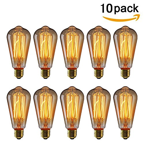 Price comparison product image KINGSO 10 Pack 40W ST64 Edison Bulb Filament Vintage Antique Style Incandescent Glass Light Squirrel Cage Design E27 Medium Base Lamp for Chandeliers Wall Sconces Pendant Lighting 220V