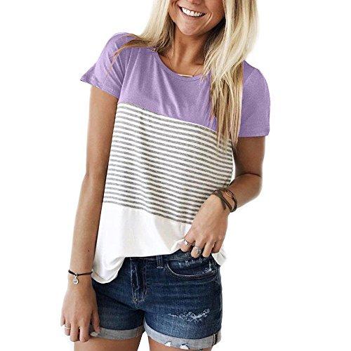 9f57c03c08c IBOWO Streifen T-Shirt Damen Kurzarm Shirt für Sommer Beiläufig Locker Bluse  Tops (Lila