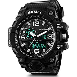 SKMEI Analog-Digital Black Dial Men's Watch - AD1155 (Black)
