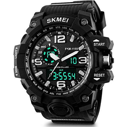 SKMEI Analog-Digital Black Dial Men's Watch – AD1155 (BK White)