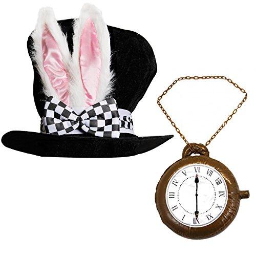 Deluxe-Kostümhut für Erwachsene, Design Alice im Wunderland, Kaninchenhut mit den großen Ohren und Schleife + große, aufblasbare Uhr, ideal für Partys, (Alice Wunderland Im Design)