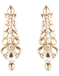 Touchstone Indian Bollywood Kundan Polki Traditional Long Designer Jewelry Earrings In Antique Gold Tone For Women