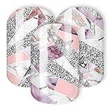 Nail Wraps/Nagelfolien -Rosa Quarz - modernes und elegantes Marmor Design mit Glitzer (rosa, rosé, nude)