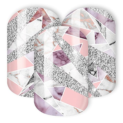STICKER GIGANT Nagelfolie -'Rosa Quarz', Marble Rosa Silber Glitzer, 22 hauchdünne selbstklebende Nail Wraps