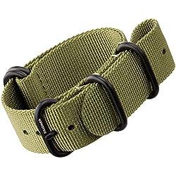 Nylon Watch Strap by ZULUDIVER®, IP PVD Black ZULU Buckles, Green, 22mm