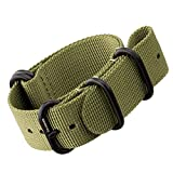 Nylon Watch Strap by ZULUDIVER®, IP PVD Black ZULU Buckles, Green, 22mm