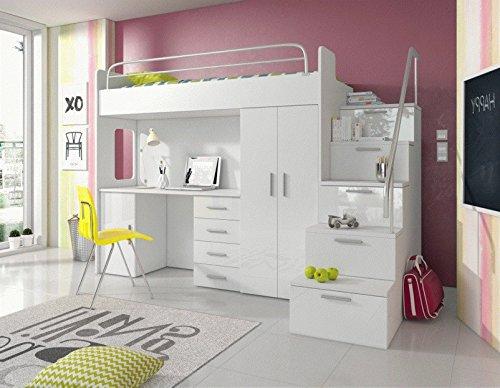 Furnistad - Hochbett SKY - Kinderzimmer Komplett (Option rechts, Weiß)